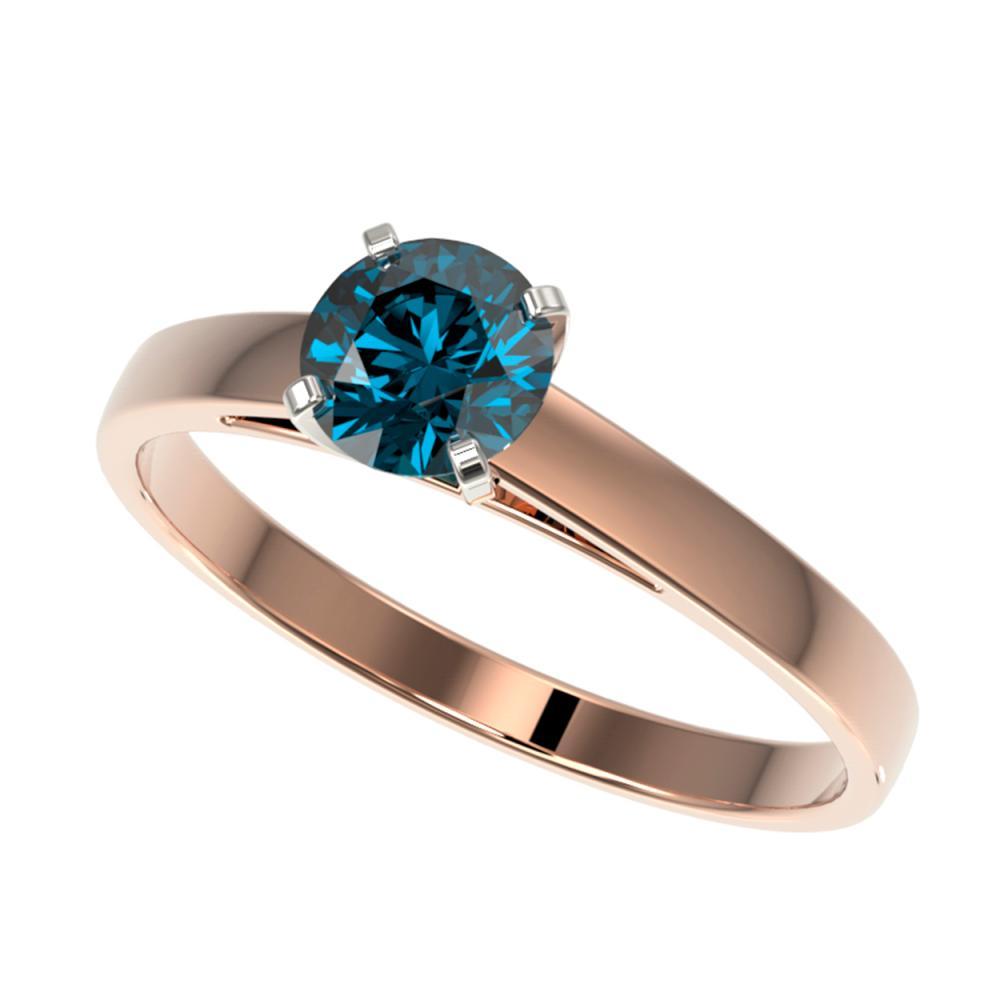 0.73 ctw Intense Blue Diamond Ring 10K Rose Gold - REF-70R5K - SKU:36486