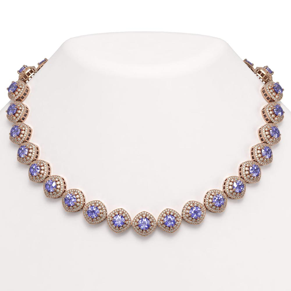 83.82 ctw Tanzanite & Diamond Necklace 14K Rose Gold - REF-2511K8W - SKU:44106