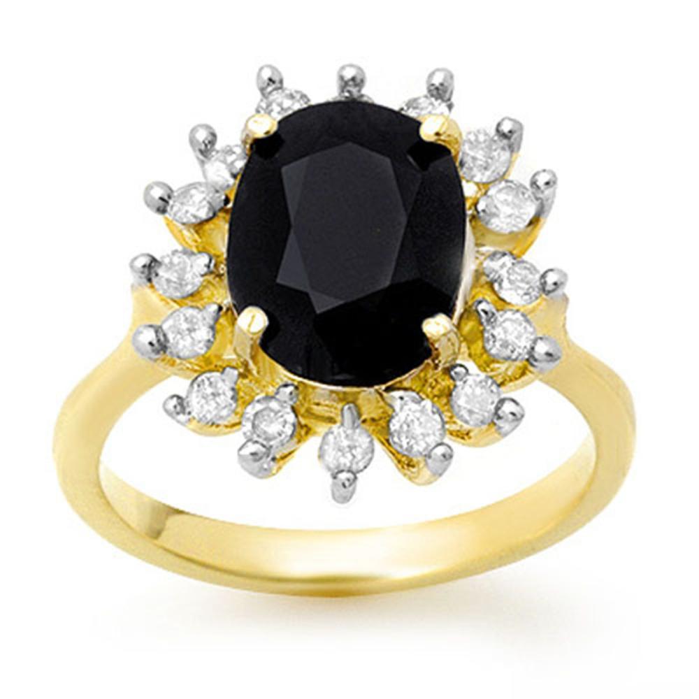 3.67 ctw Blue Sapphire & Diamond Ring 10K Yellow Gold - REF-54A5V - SKU:12752