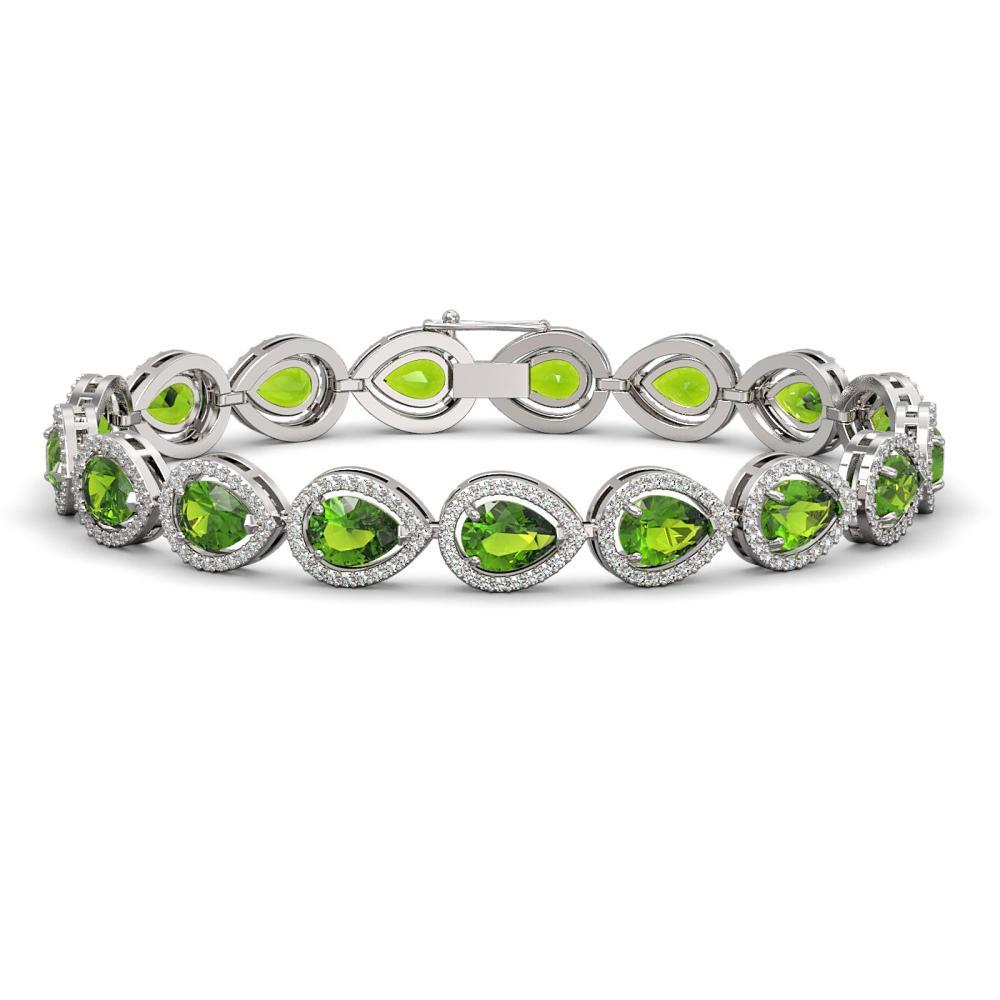16.08 ctw Peridot & Diamond Halo Bracelet 10K White Gold - REF-312M2F - SKU:41117