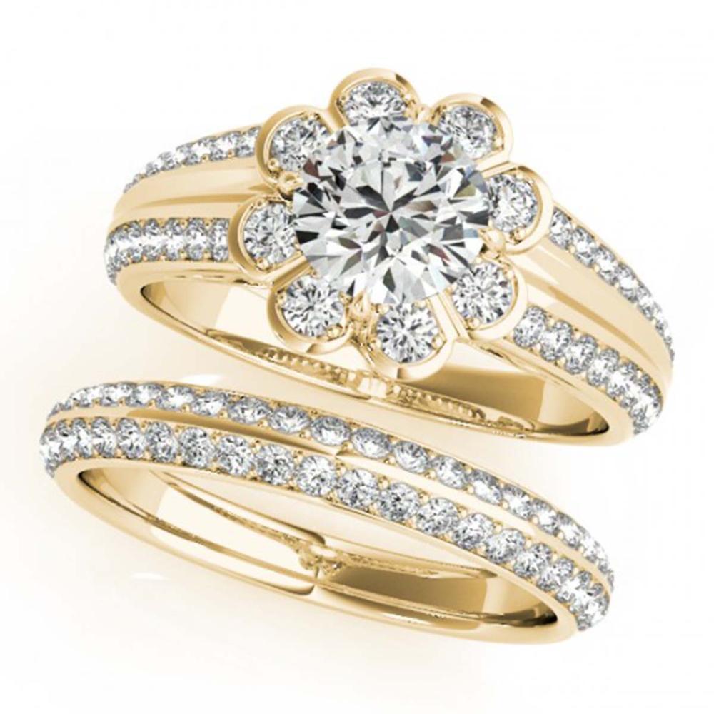 1.86 ctw VS/SI Diamond 2pc Wedding Set Halo 14K Yellow Gold - REF-313K8W - SKU:31288