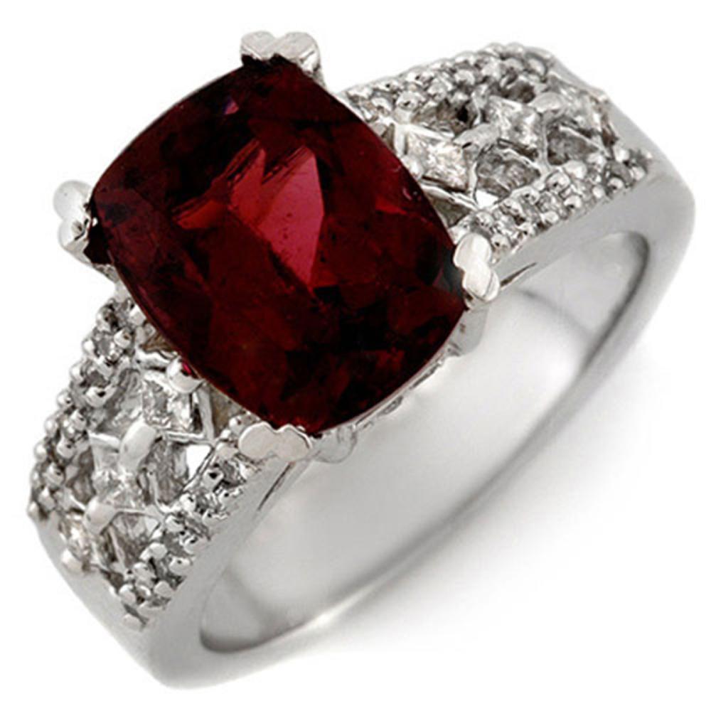 3.50 ctw Pink Tourmaline & Diamond Ring 14K White Gold - REF-118N2A - SKU:10337