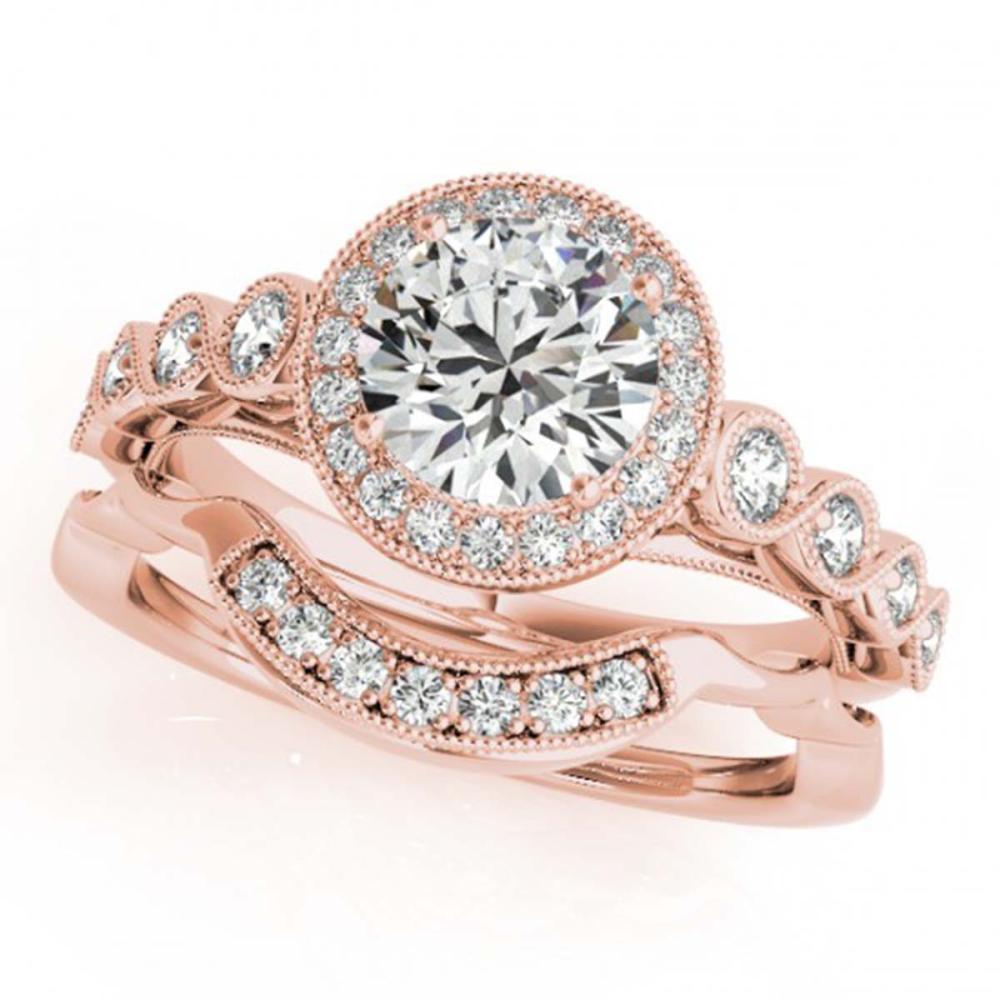 2.03 ctw VS/SI Diamond 2pc Wedding Set Halo 14K Rose Gold - REF-510A8V - SKU:30853
