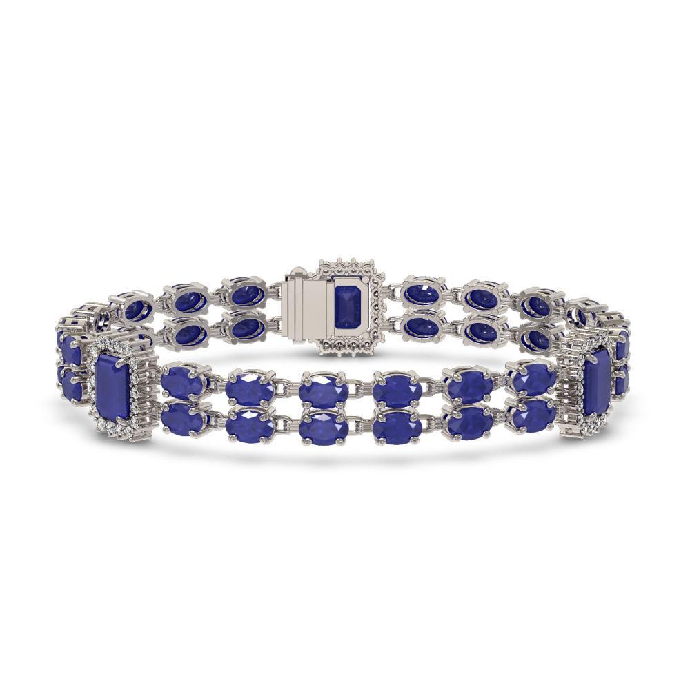 19.49 ctw Sapphire & Diamond Bracelet 14K White Gold - REF-252F7N - SKU:45029