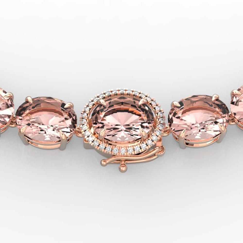 148 ctw Morganite & VS/SI Diamond Necklace 14K Rose Gold - REF-1719R8K - SKU:22305