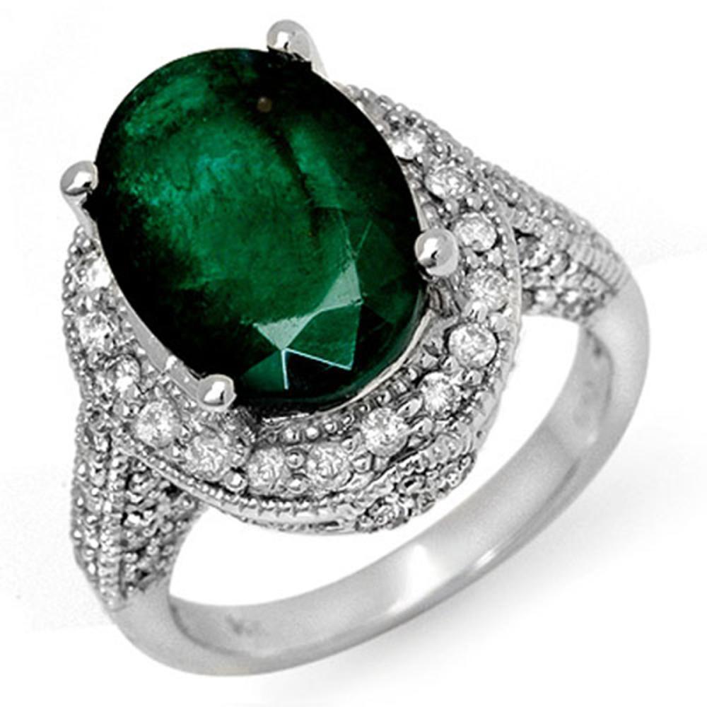 6.50 ctw Emerald & Diamond Ring 18K White Gold - REF-122V2Y - SKU:11897