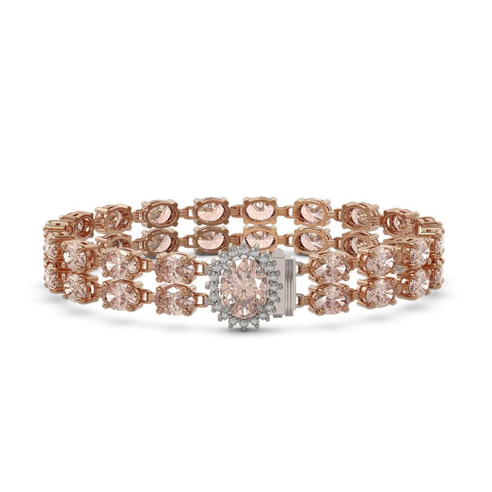 27.57 ctw Morganite & Diamond Bracelet 14K Rose Gold - REF-282F5N - SKU:45492