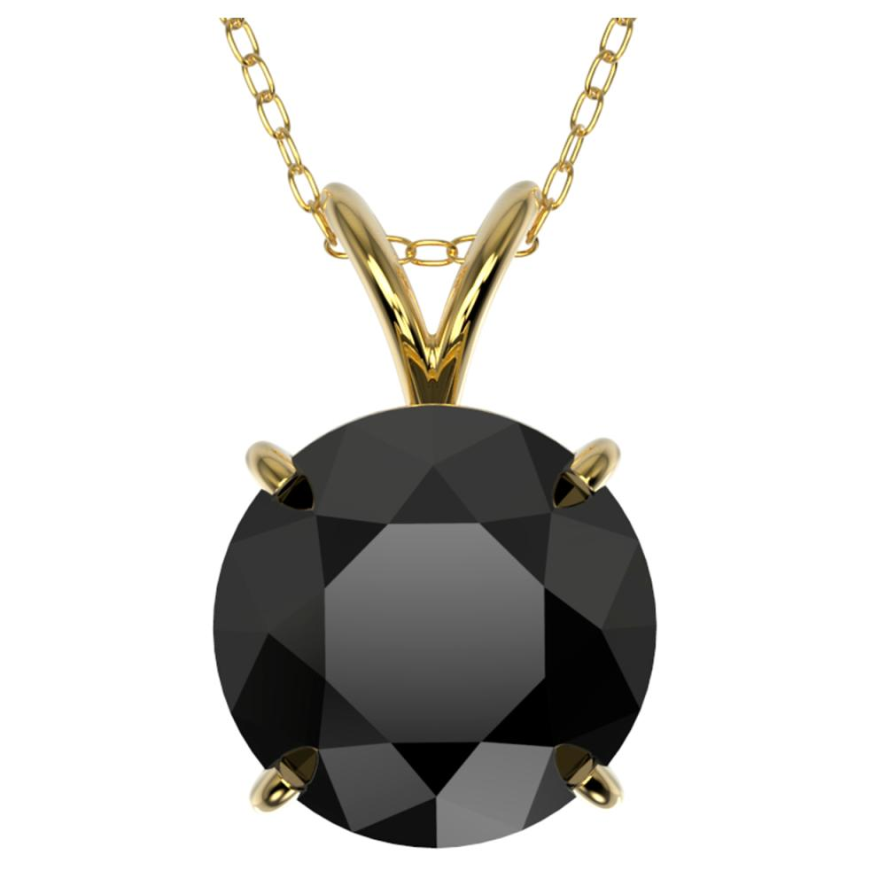 2.58 ctw Fancy Black Diamond Solitaire Necklace 10K Yellow Gold - REF-73W5H - SKU:36823
