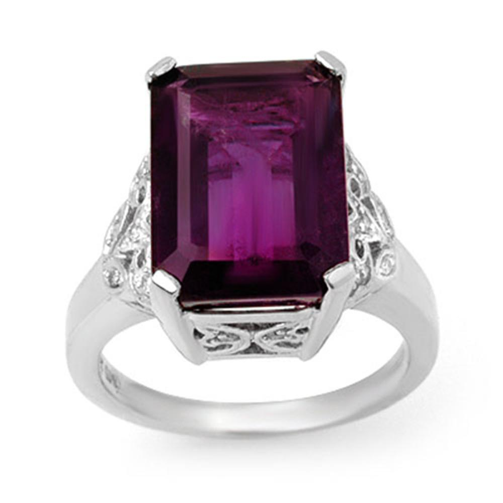 8.20 ctw Amethyst & Diamond Ring 14K White Gold - REF-57H8M - SKU:14195