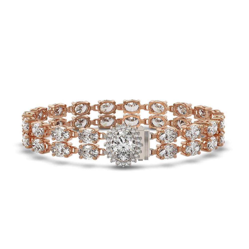 13.54 ctw Oval Diamond Bracelet 18K Rose Gold - REF-1529N6A - SKU:46228