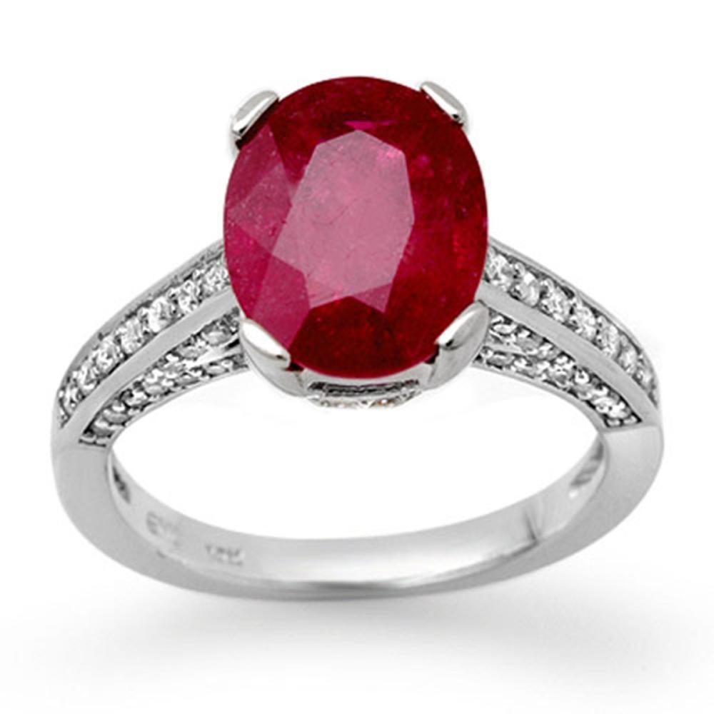 2.80 ctw Ruby & Diamond Ring 18K White Gold - REF-94W5H - SKU:11870