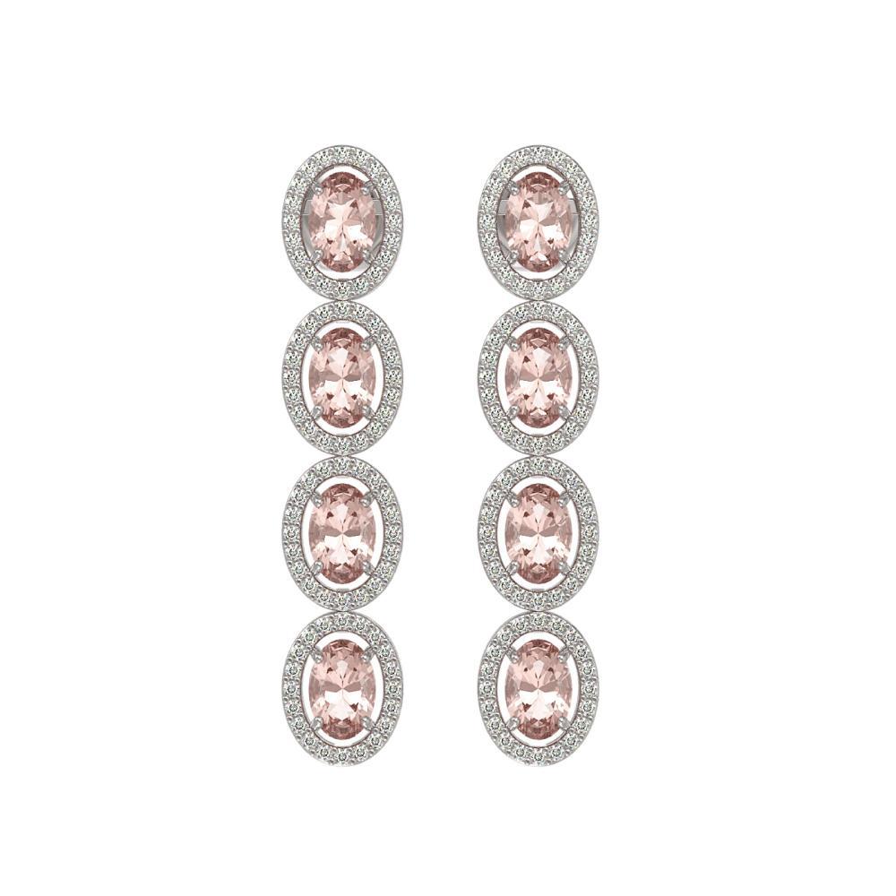 6.09 ctw Morganite & Diamond Halo Earrings 10K White Gold - REF-125M5F - SKU:40514