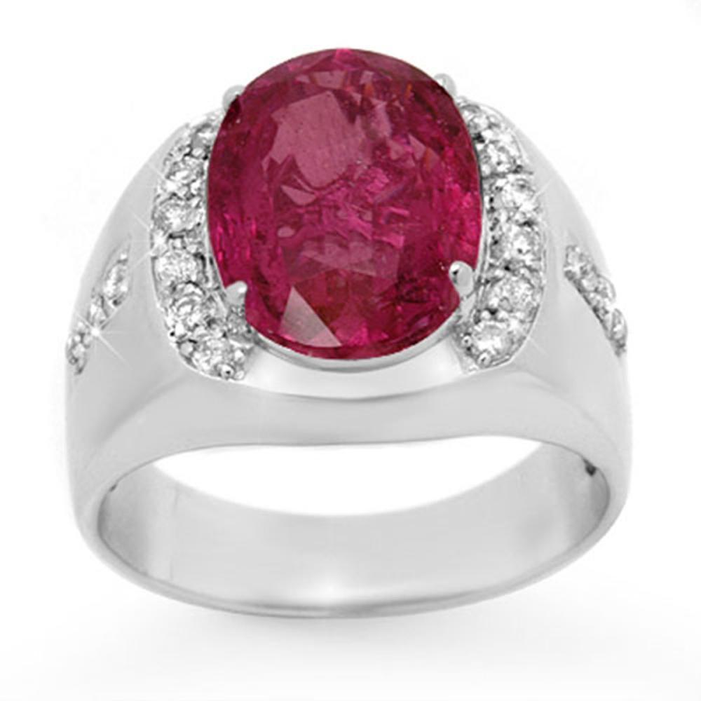 7.33 ctw Pink Sapphire & Diamond Men's Ring 10K White Gold - REF-181X8R - SKU:13417