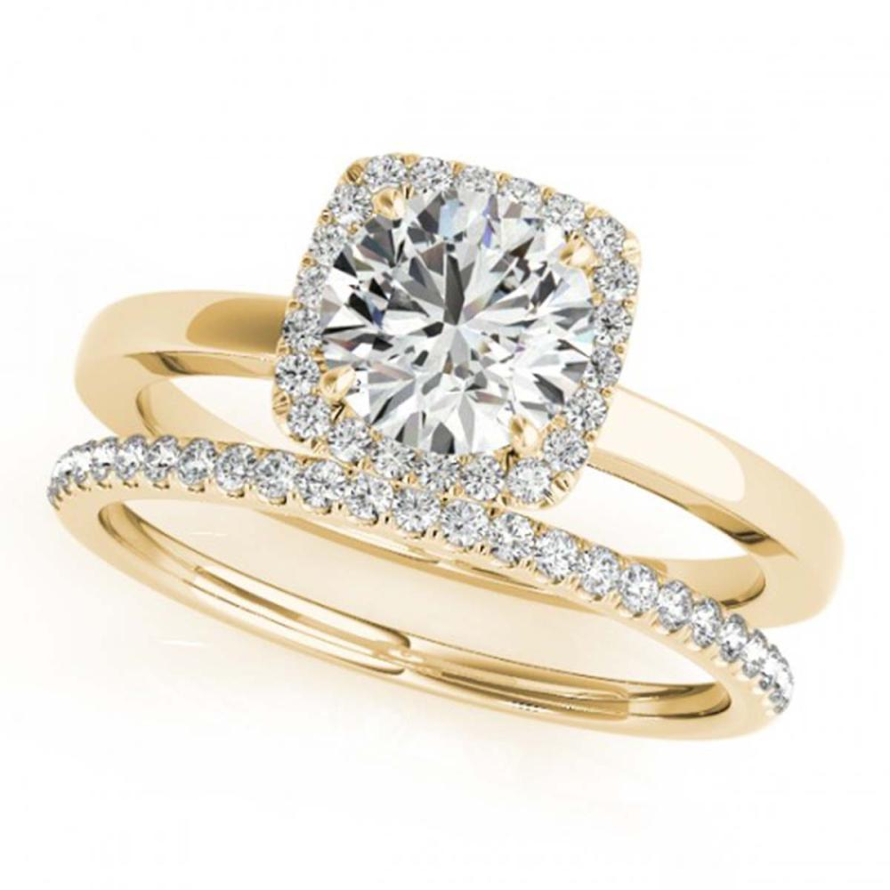 0.83 ctw VS/SI Diamond 2pc Wedding Set Halo 14K Yellow Gold - REF-98N2A - SKU:30731