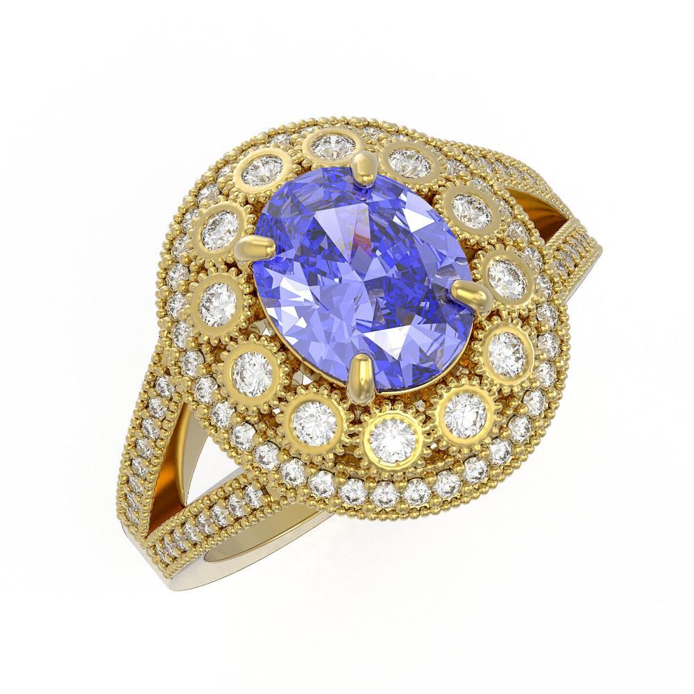 4.76 ctw Tanzanite & Diamond Ring 14K Yellow Gold - REF-178K5W - SKU:43585
