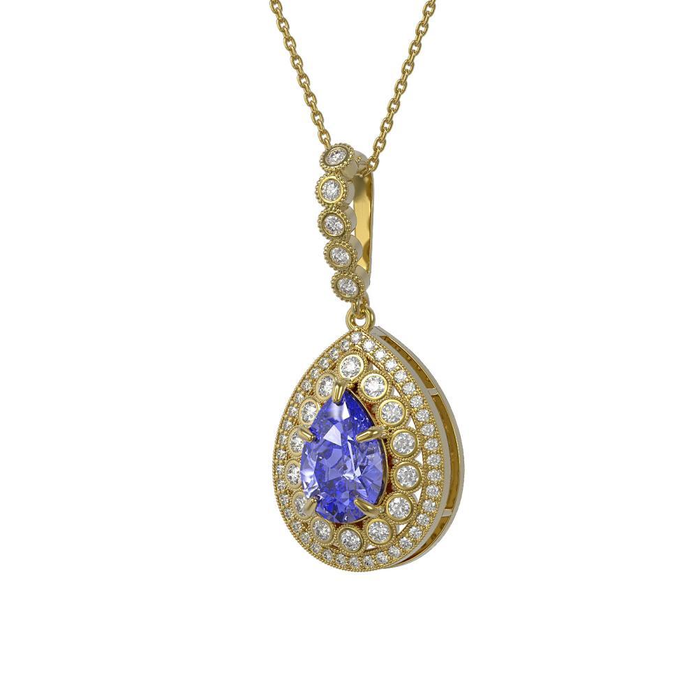 4.47 ctw Tanzanite & Diamond Necklace 14K Yellow Gold - REF-193X5R - SKU:43210