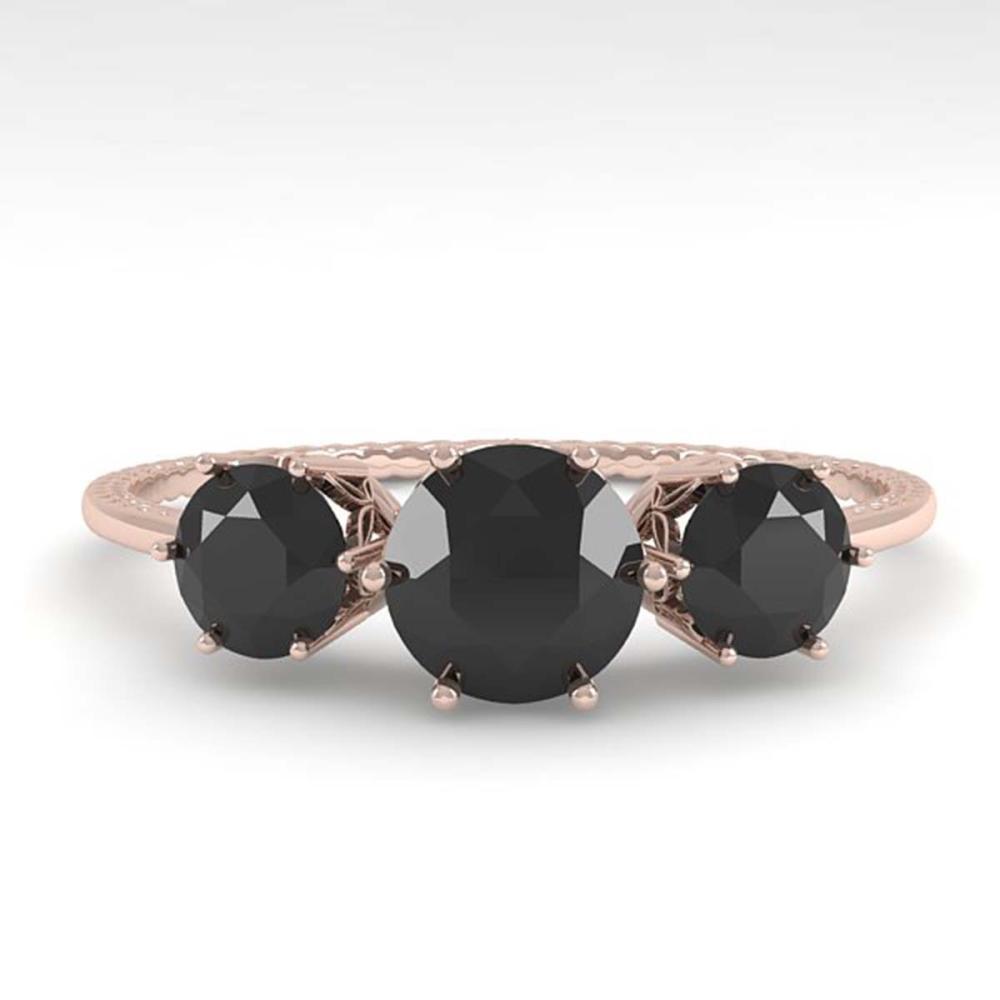 1 ctw Past Present Future Black Diamond Ring 18K Rose Gold - REF-52A5V - SKU:35906