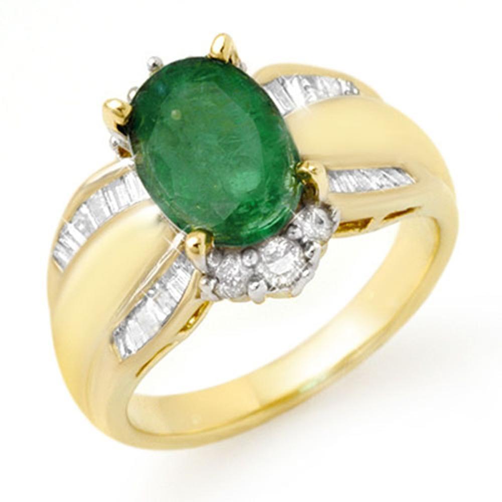 2.87 ctw Emerald & Diamond Ring 14K Yellow Gold - REF-86R7K - SKU:12939