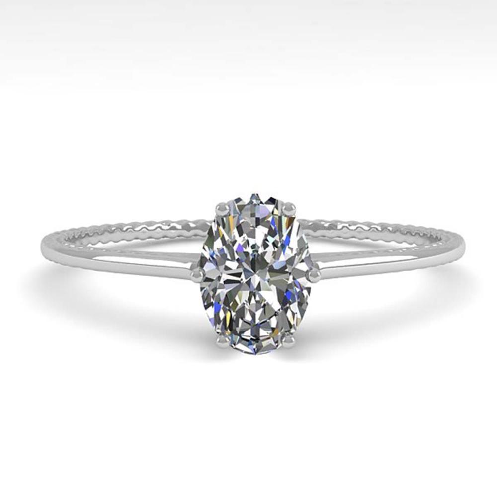 1.0 ctw VS/SI Oval Cut Diamond Ring 18K White Gold - REF-287R4K - SKU:35892