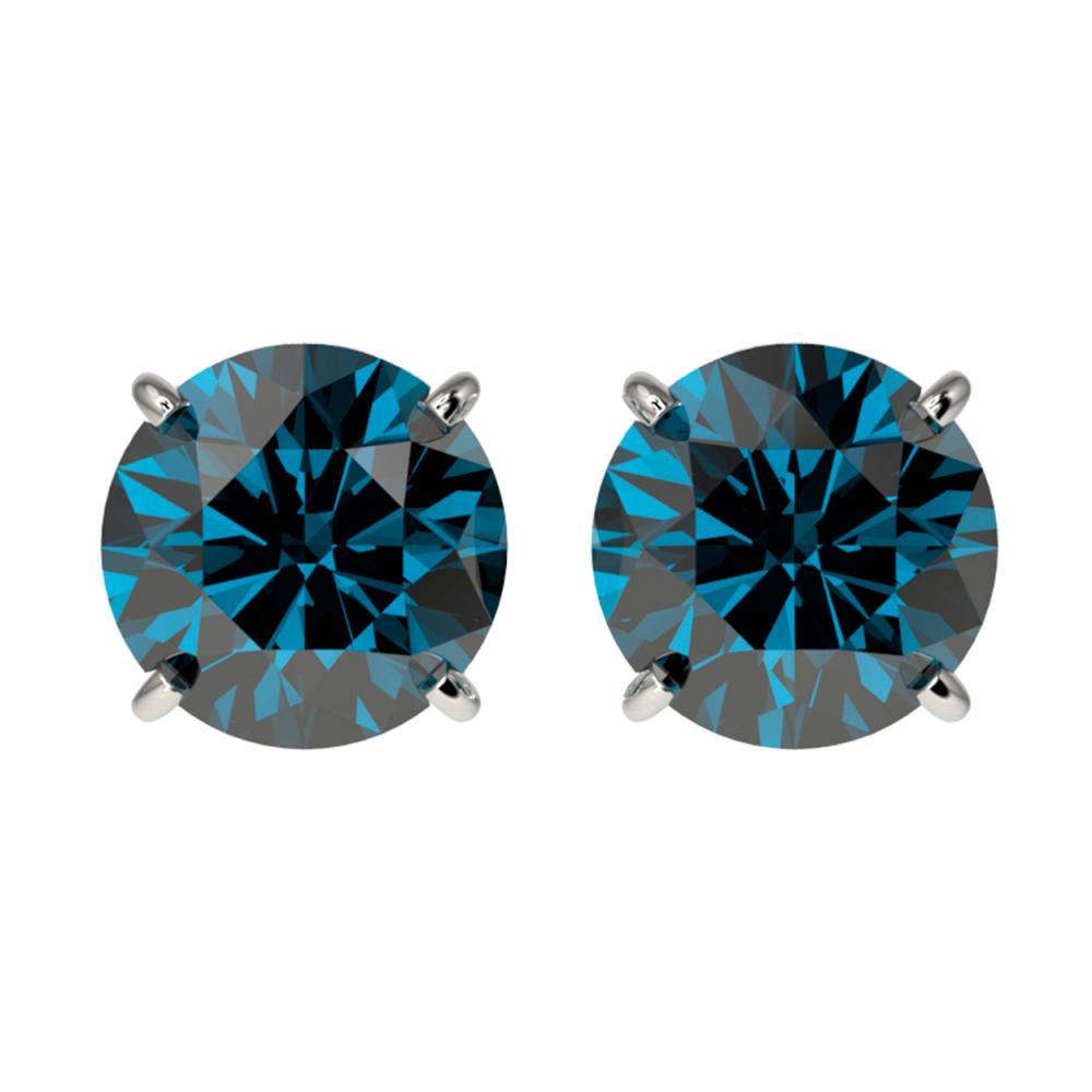 2.05 ctw Intense Blue Diamond Stud Earrings 10K White Gold - REF-222X2R - SKU:36656