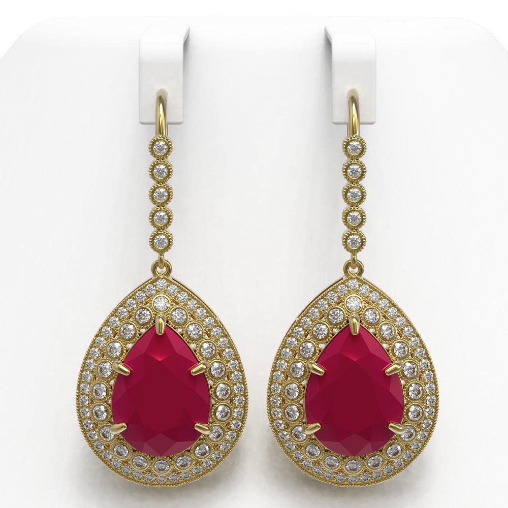 31.74 ctw Ruby & Diamond Earrings 14K Yellow Gold - REF-646N4A - SKU:43303