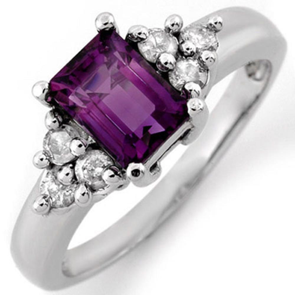 1.36 ctw Amethyst & Diamond Ring 10K White Gold - REF-36Y7X - SKU:10432