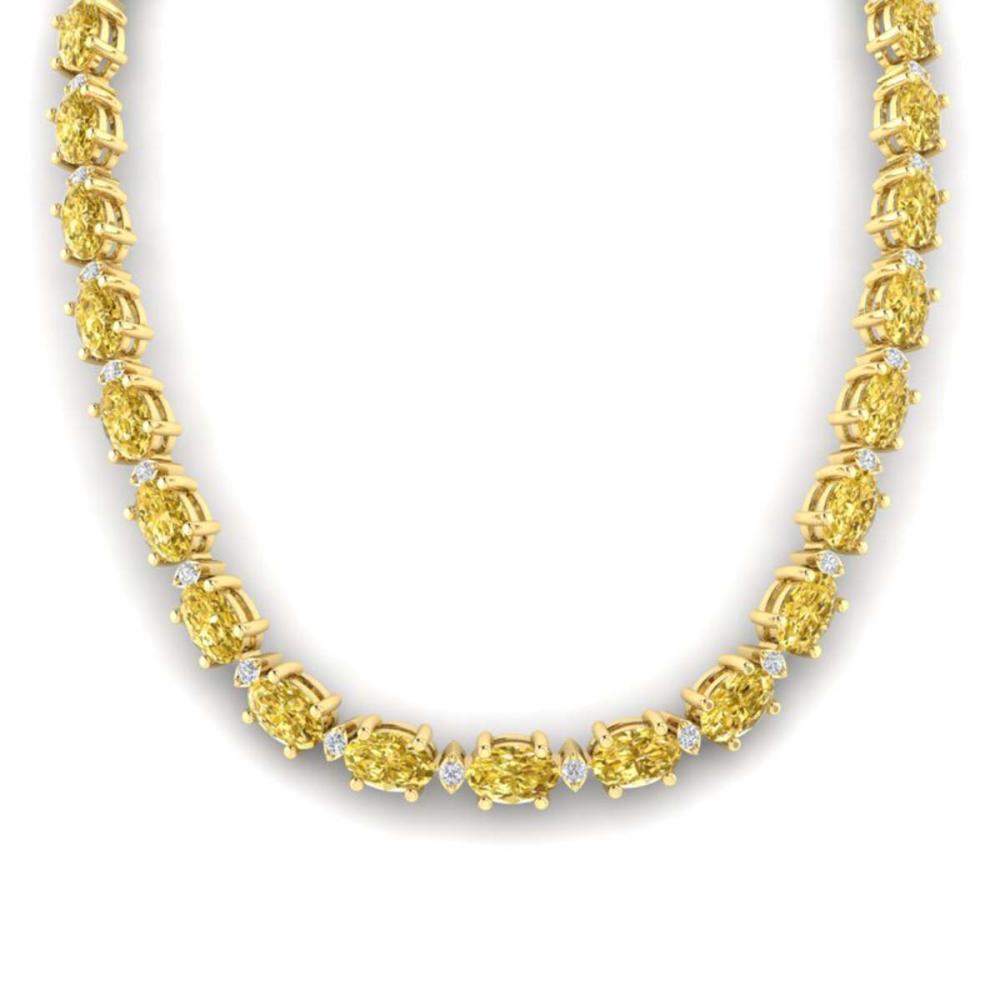 61.85 ctw Citrine & VS/SI Diamond Eternity Necklace 10K Yellow Gold - REF-275M8F - SKU:29505