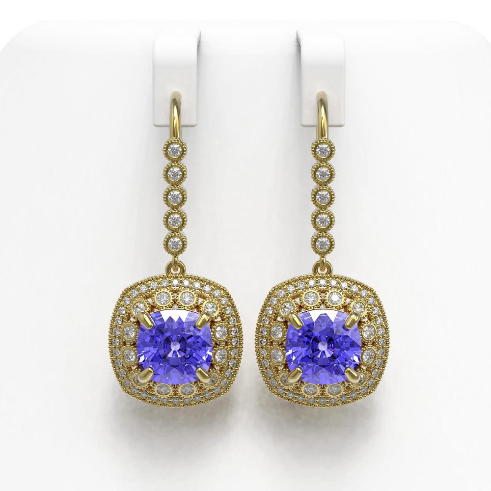 13.4 ctw Tanzanite & Diamond Earrings 14K Yellow Gold - REF-420A5V - SKU:43963