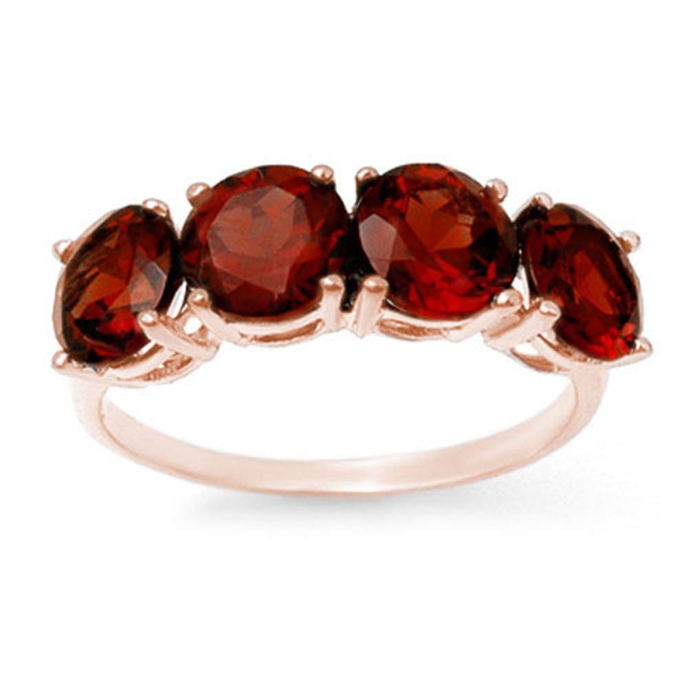 3.66 ctw Garnet Ring 18K Rose Gold - REF-37X3R - SKU:12808