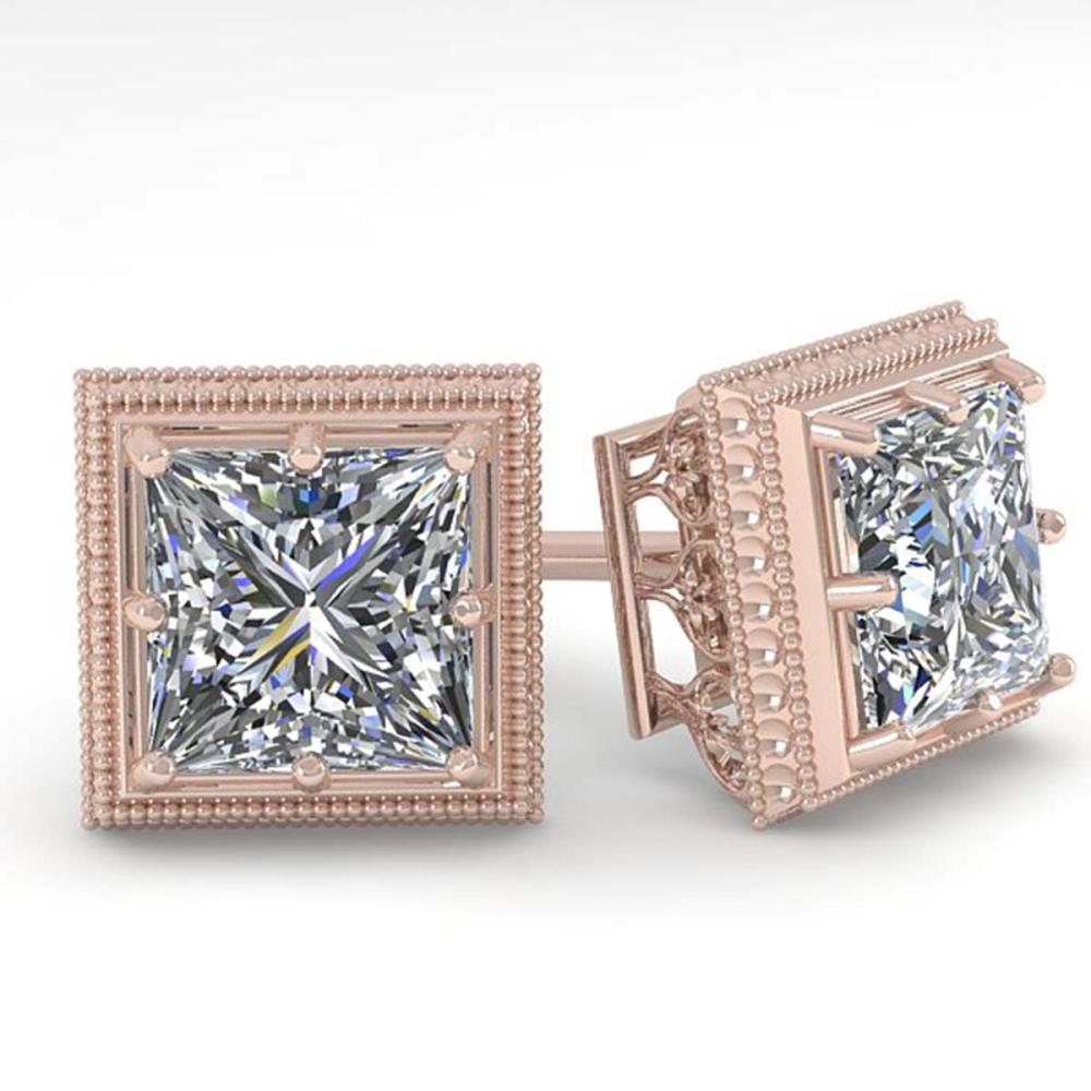 1.0 ctw VS/SI Princess Diamond Stud Earrings 18K Rose Gold - REF-170H9M - SKU:35960