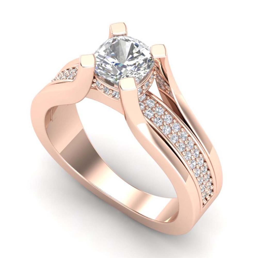 1.70 ctw VS/SI Cushion Diamond Solitaire Ring 18K Rose Gold - REF-472K7W - SKU:37164