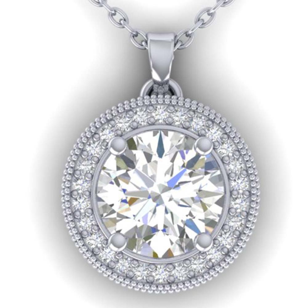 2 ctw I-SI Diamond Art Deco Halo Necklace 14K White Gold - REF-593N5A - SKU:30531