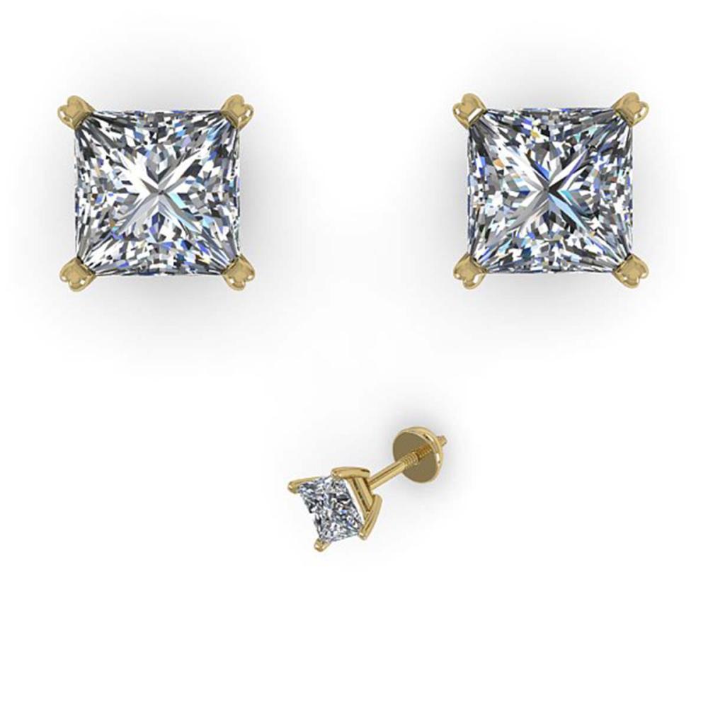 1.00 ctw VS/SI Princess Cut Diamond Earrings 14K Yellow Gold - REF-148V5Y - SKU:38363