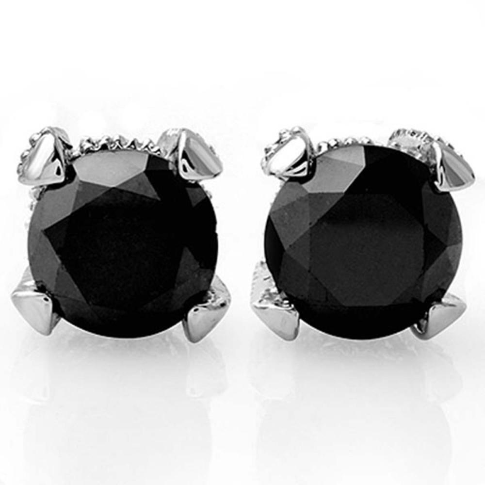 4.0 ctw VS Black & White Diamond Stud Earrings 18K White Gold - REF-115A8V - SKU:11856