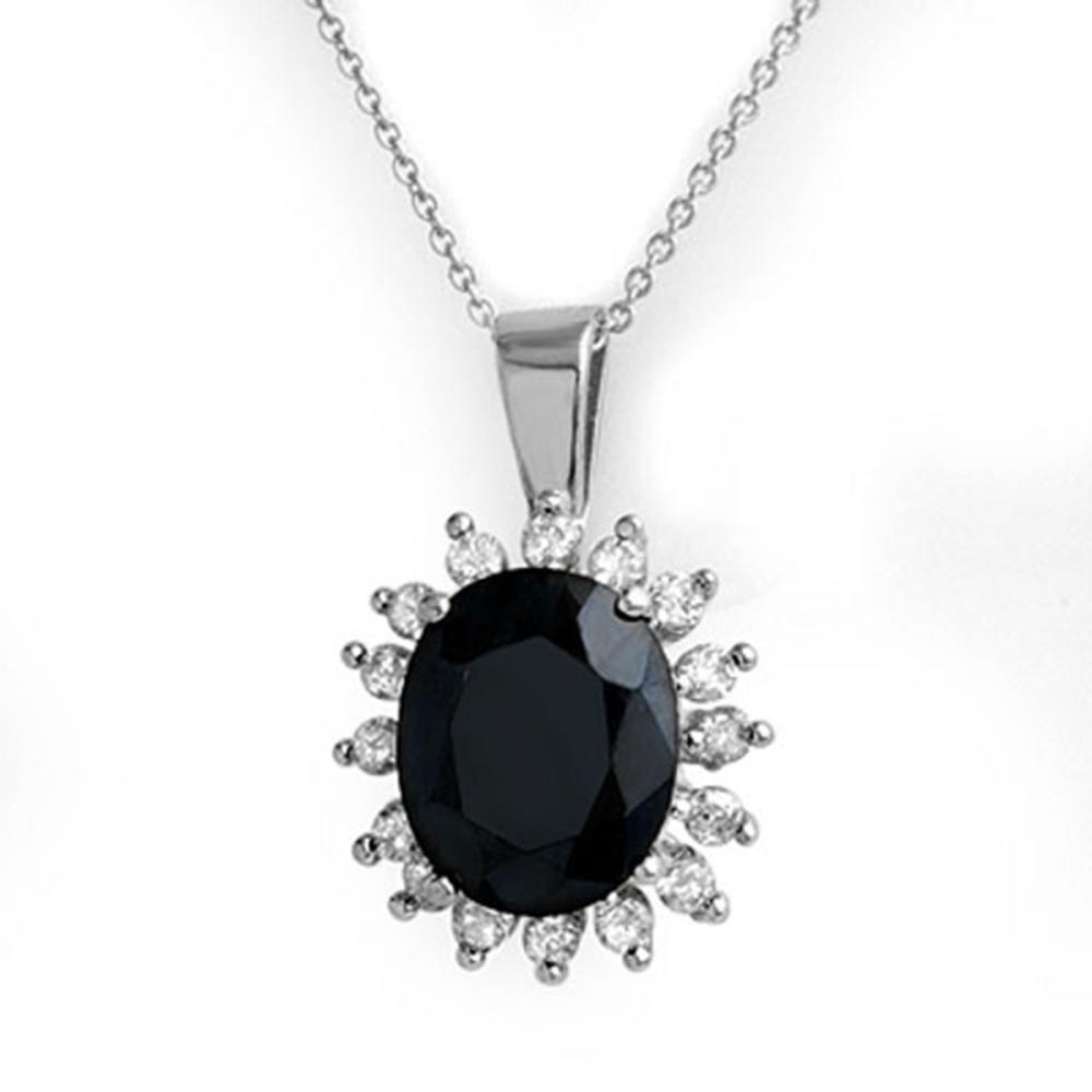 5.20 ctw Blue Sapphire & Diamond Pendant 14K White Gold - REF-87R3K - SKU:14085