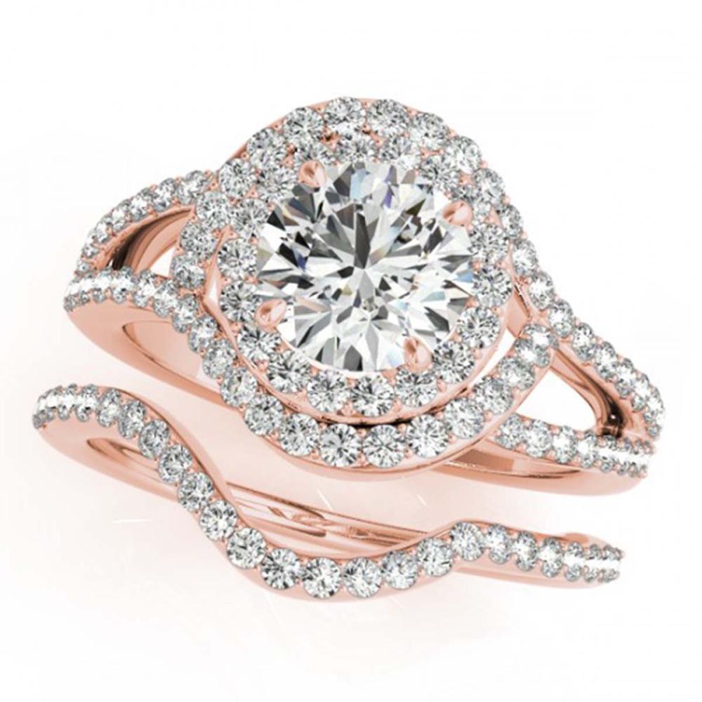 1.92 ctw VS/SI Diamond 2pc Wedding Set Halo 14K Rose Gold - REF-192W2H - SKU:31263