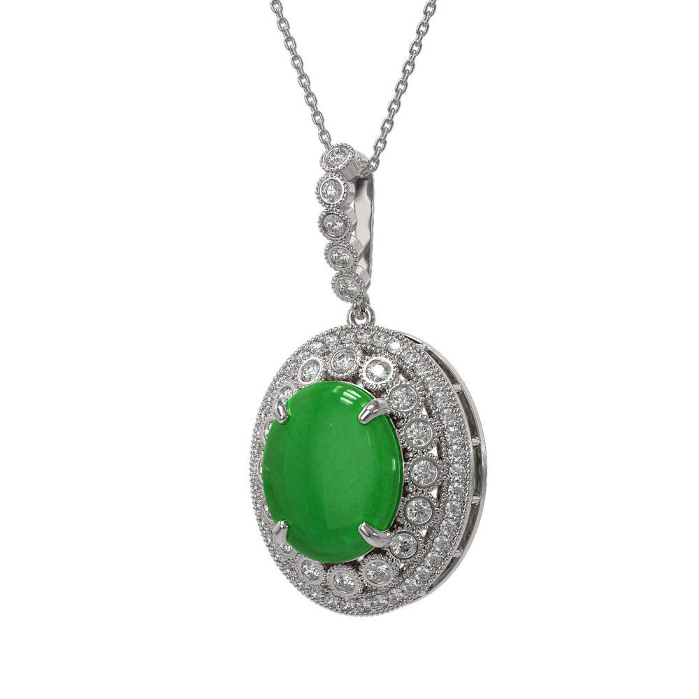 9.17 ctw Jade & Diamond Necklace 14K White Gold - REF-199M8F - SKU:46137