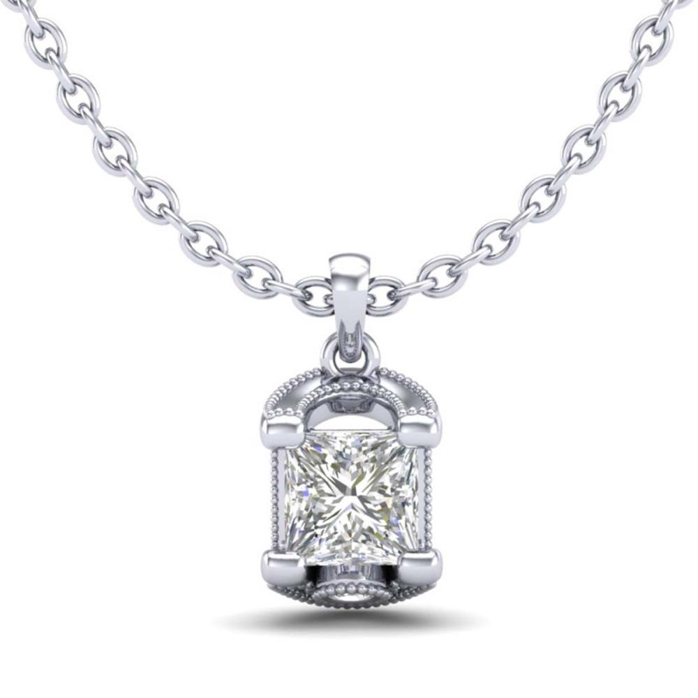1.25 ctw Princess VS/SI Diamond Art Deco Necklace 18K White Gold - REF-315F2N - SKU:37154