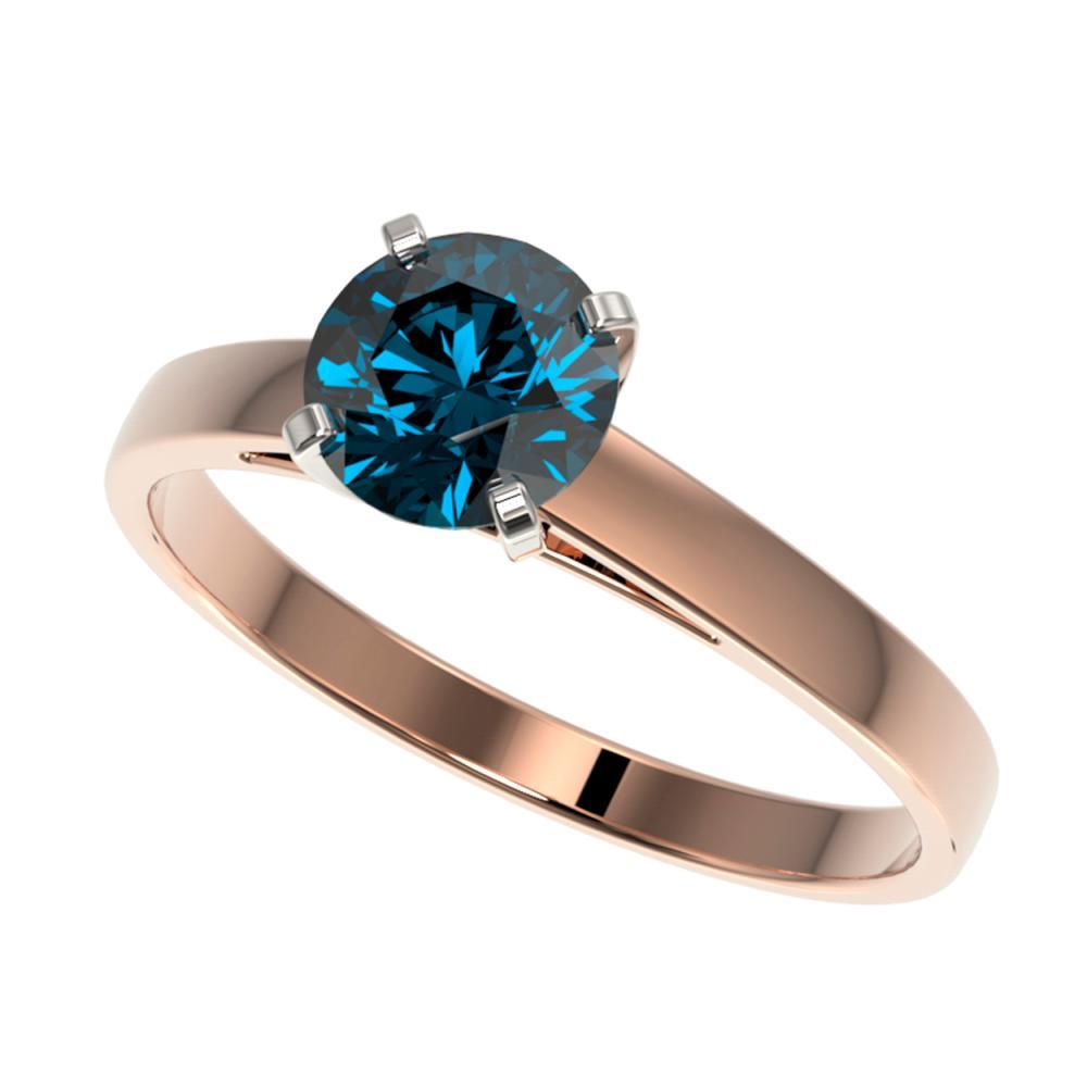 1 ctw Intense Blue Diamond Ring 10K Rose Gold - REF-127H5M - SKU:32988