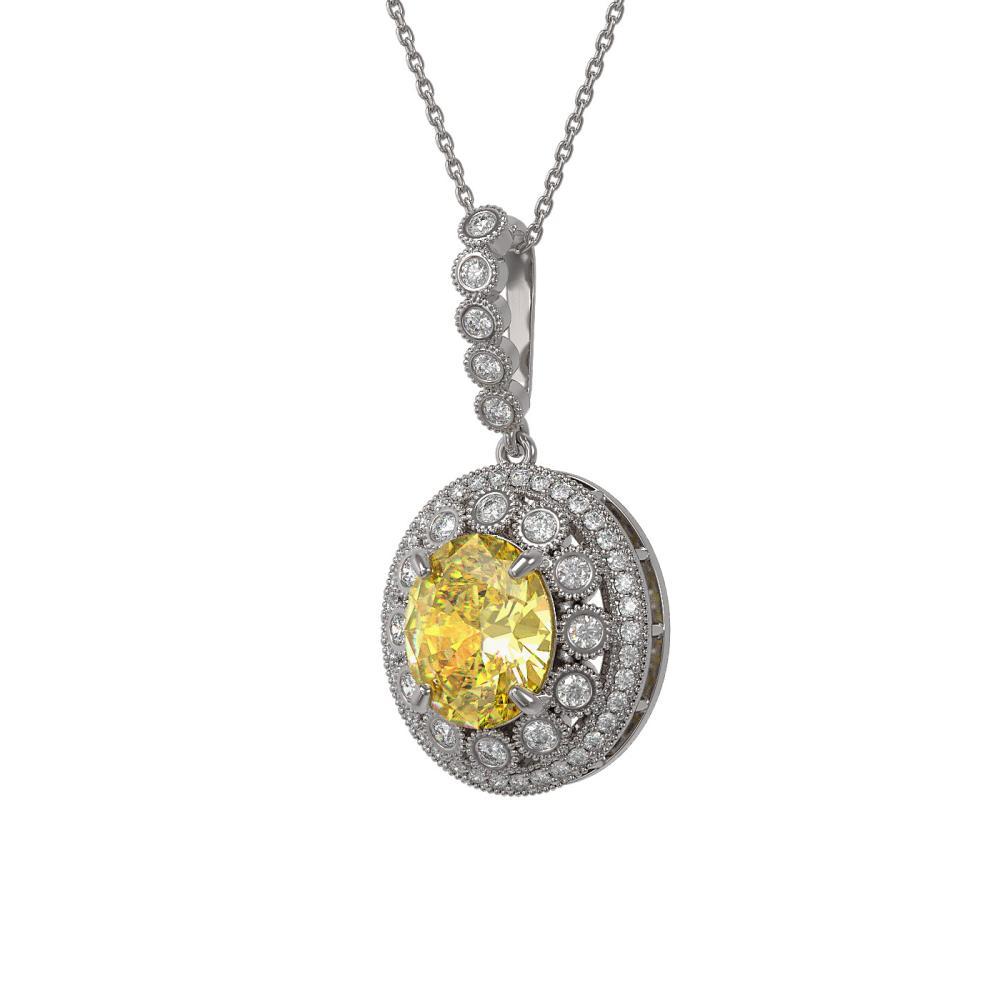7.66 ctw Canary Citrine & Diamond Necklace 14K White Gold - REF-161X6R - SKU:43832