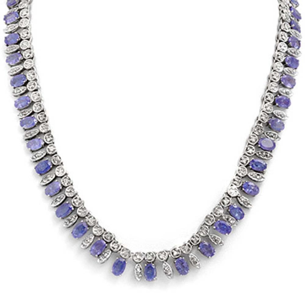 34 ctw Tanzanite & Diamond Necklace 14K White Gold - REF-763A6V - SKU:14294