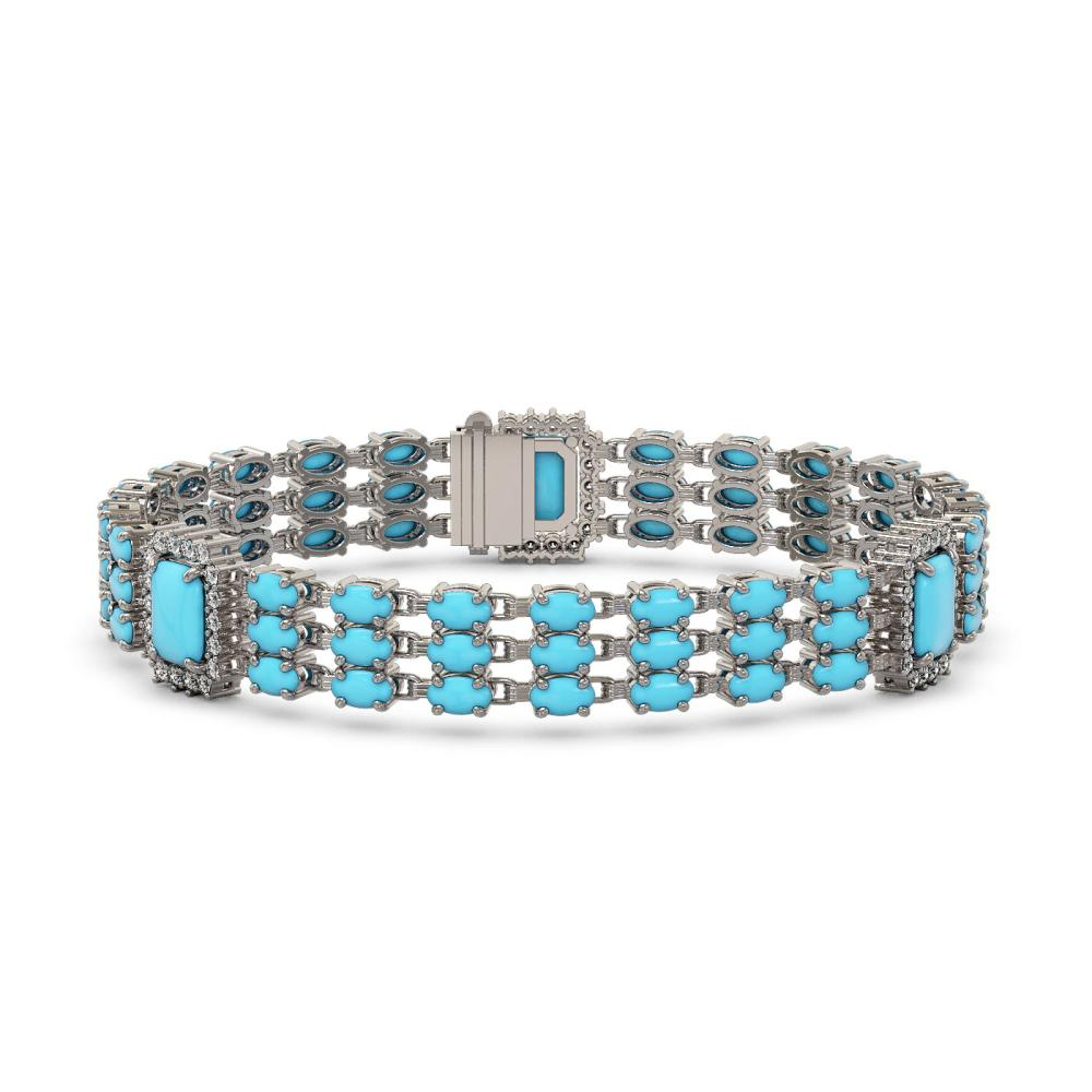 20.55 ctw Turquoise & Diamond Bracelet 14K White Gold - REF-285V3Y - SKU:45416