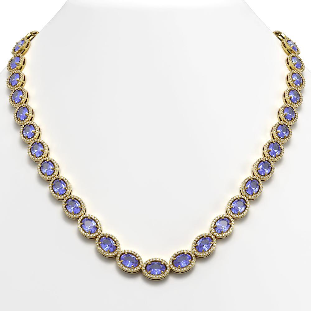 48.65 ctw Tanzanite & Diamond Halo Necklace 10K Yellow Gold - REF-797R3K - SKU:40564