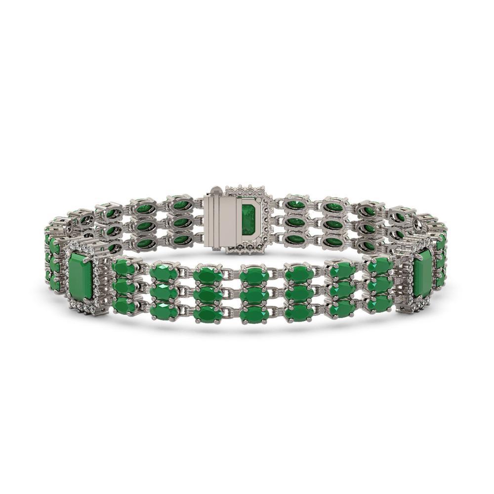 29.64 ctw Emerald & Diamond Bracelet 14K White Gold - REF-360V5Y - SKU:45365