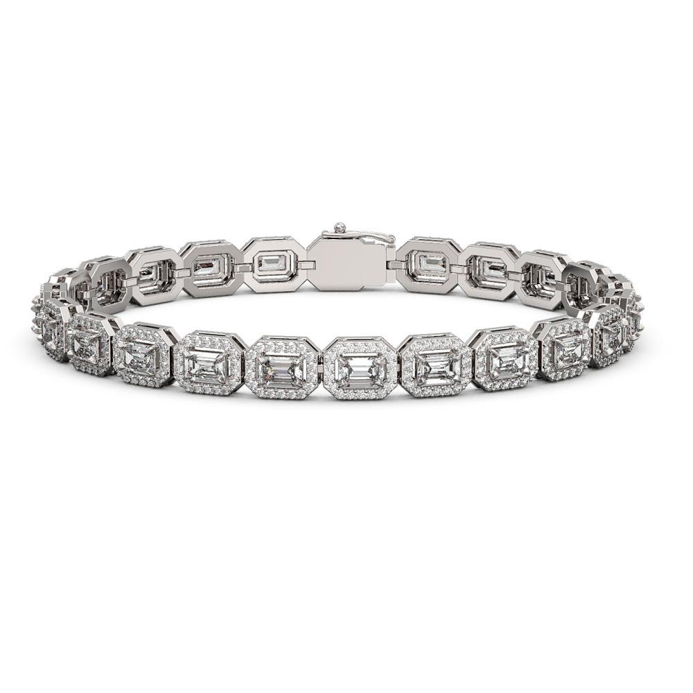10.39 ctw Emerald Diamond Bracelet 18K White Gold - REF-1222W3H - SKU:43058