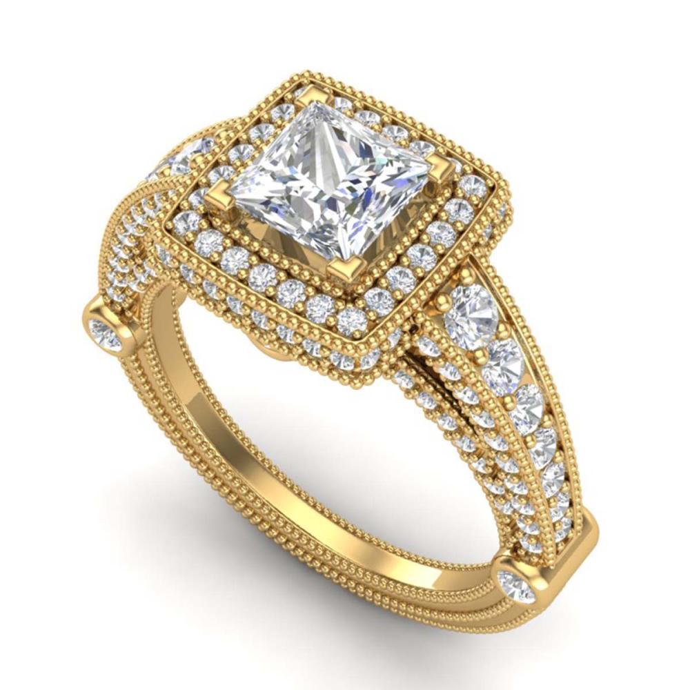 2.53 ctw Princess VS/SI Diamond Solitaire Art Deco Ring 18K Yellow Gold - REF-509K3W - SKU:37126