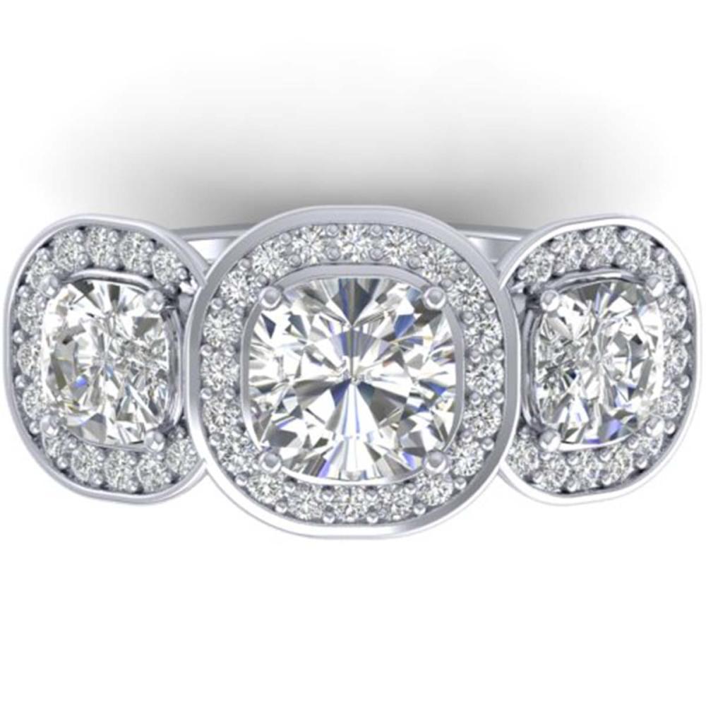 2.7 ctw VS/SI Cushion Diamond Art Deco 3 Stone Ring 14K White Gold - REF-518R6K - SKU:30342