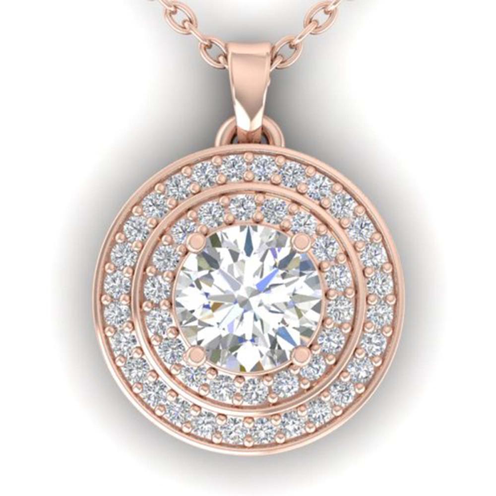 0.90 ctw VS/SI Diamond Art Deco Halo Necklace 14K Rose Gold - REF-116N4A - SKU:30370