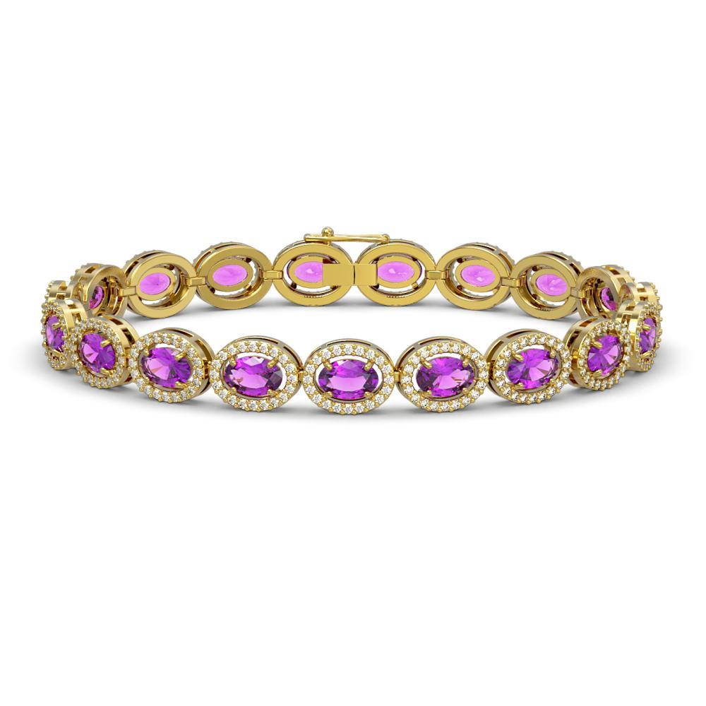 13.11 ctw Amethyst & Diamond Halo Bracelet 10K Yellow Gold - REF-229H3M - SKU:40492