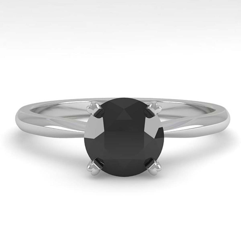 1.0 ctw Black Diamond Ring 18K White Gold - REF-43A5V - SKU:32403